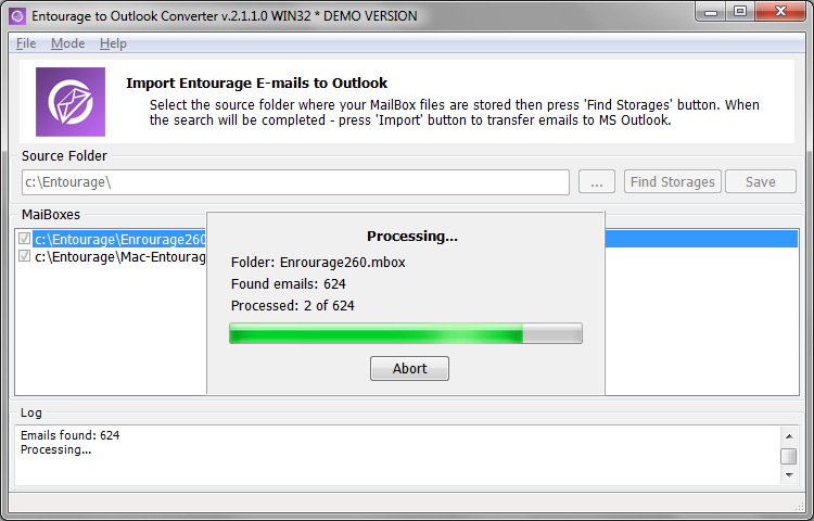 Click to view Entourage to Outlook Converter screenshots